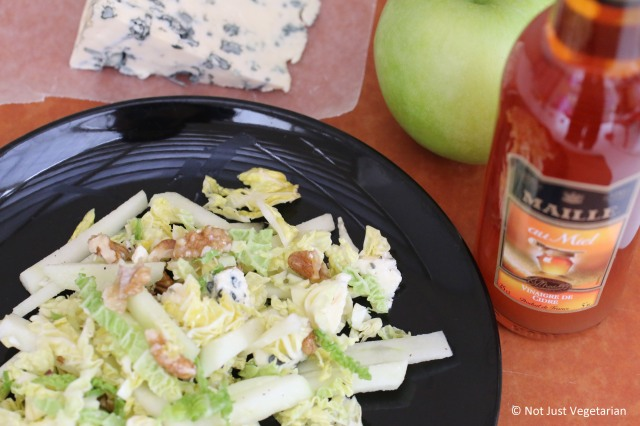 Savoy cabbage, apple, walnut and blue cheese salad with Maille Cider vinegar with honey