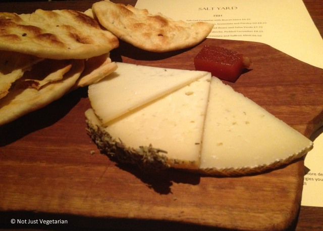 Plate of 3 manchego (cheeses) at Salt Yard in London
