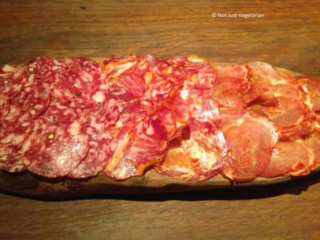 Plate of Spanish charcuterie at Salt Yard in London
