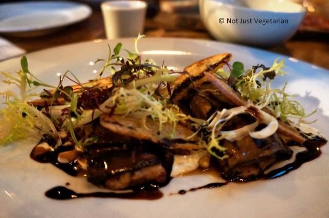 Aubergine with grilled courgettes, marinated peppers, goat curd and balsamic at 28-50 in Marylebone, London