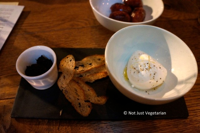 Bocconcini mozarella and olive tapenade at 28-50 in Marylebone, London