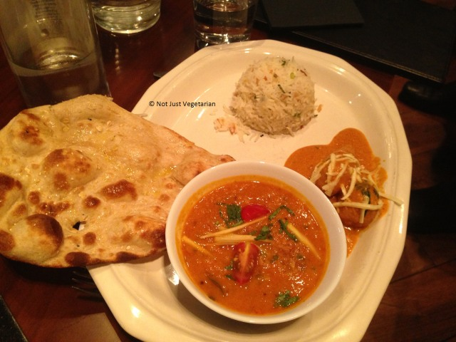 HYderabadi Malai Kofta, Yellow Dal, with mixed cereal naan and steamed basmati rice at Indali Lounge in London