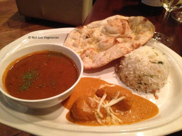 Hyderabadi Malai Kofta and Black Dal with a mixed cereal naan and steamed basmati rice at Indali Lounge in London