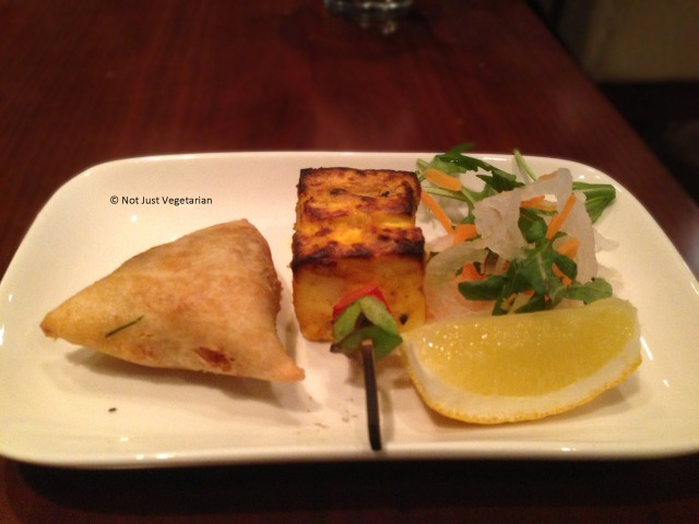 Vegetable samosa and paneer tikka at Indali Lounge in London
