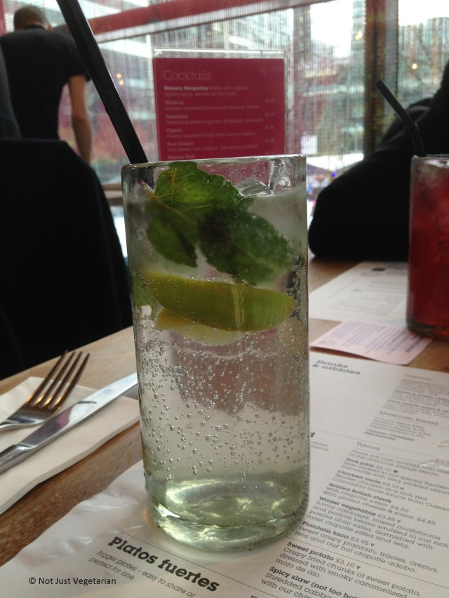 Citrus fizz (fresh lime juice, mint and sparkling water) at Wahaca in London