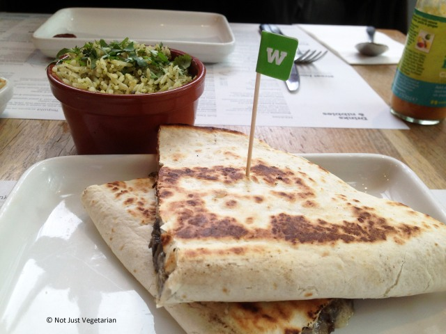 Huitilacoche quesadilla (mushroom and cheese) with green rice at Wahaca in London