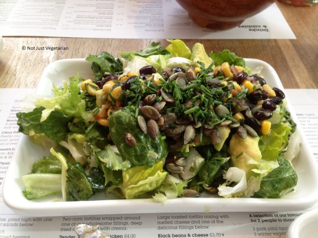 Corn and bean salad with sunflower seeds at Wahaca in London