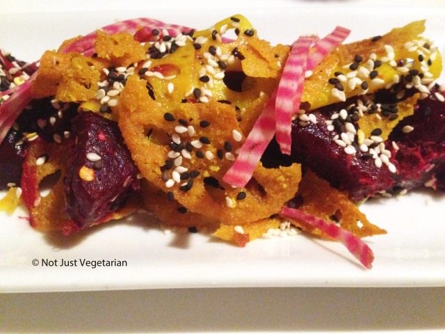 Roasted beetroots with chilli, coriander, sesame seeds and lotus roots at Ottolenghi Islington in London
