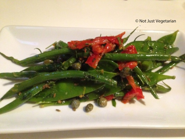 Green and yellow beans with red peppers, capers, coriander seeds and tarragon at Ottolenghi Islington in London