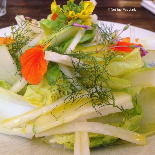 Kohlrabi and green apple salad with gem lettuce and dill at Apero in London