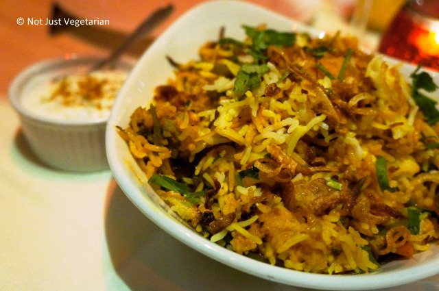 Vegetarian biryani at Dalcha in London