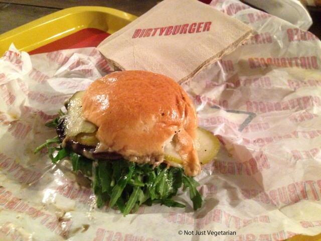 Dirty cop-out  with portobello mushroom at Dirty Burger in Shoreditch, London