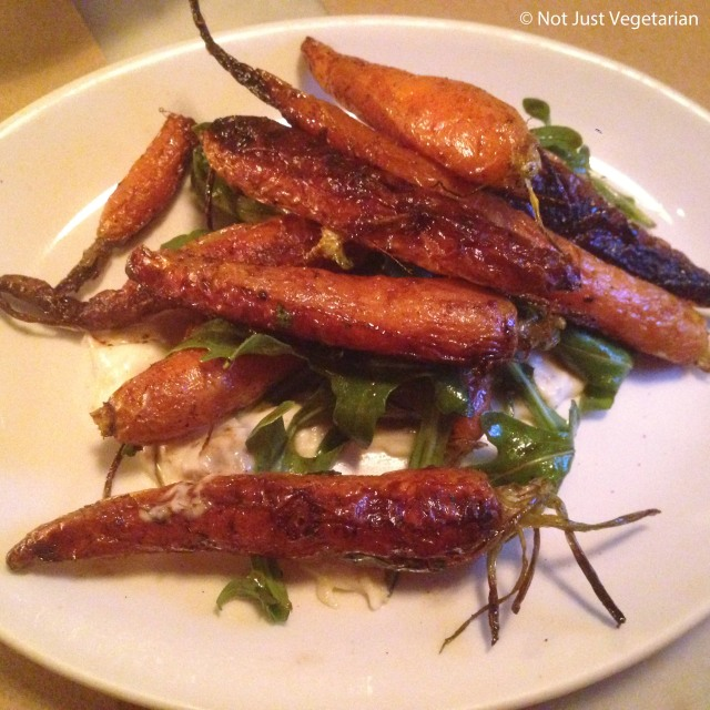 Carrots with creme fraiche, coffee and arugula at Il Buco Alimentari y Vineria, NYC