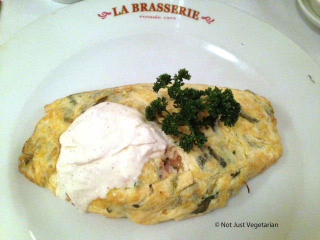 Omlette paysanne - with ham, cheese, sorrel, gruyere and craime fraiche - at La Brasserie, Chelsea in London