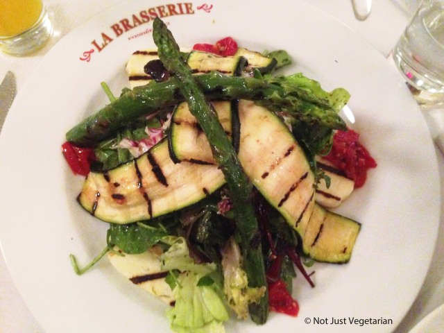 Grilled asparagus salad with courgettes and halloumi at La Brasserie in Chelsea, London
