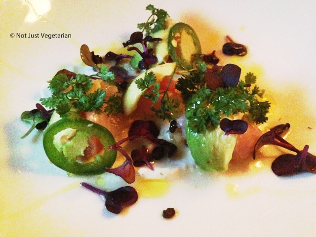 Black bass crudo with apple, avocado and lime yogurt at Navy in NYC