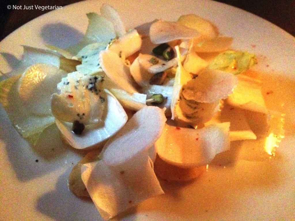 Parsnip salad with endive, blue cheese, and pistachio at Navy in NYV
