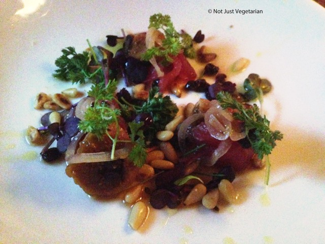 Tuna crudo with pine nut and pickled fruit at Navy in NYC