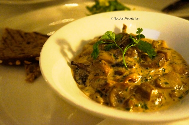 Wild mushroom boletus with girolle, braised in sour cream at Ognisko in London