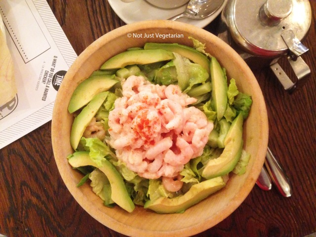 Shrimp and Avocado salad with Marie Rose dressing at Sophie;s Steakhouse in Chelsea, London