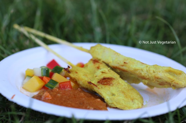 Chicken satay with peanut sauce from Thai Tho at Taste of London 2014